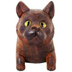 Black Forest Carved Cat Inkwell
