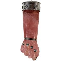 Brazilian Rose Quartz and Silver Pendant in the Form of a Fist