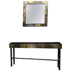 Paul Evans Brutalist Metal Patchwork Console Table and Mirror, Directional 1970s