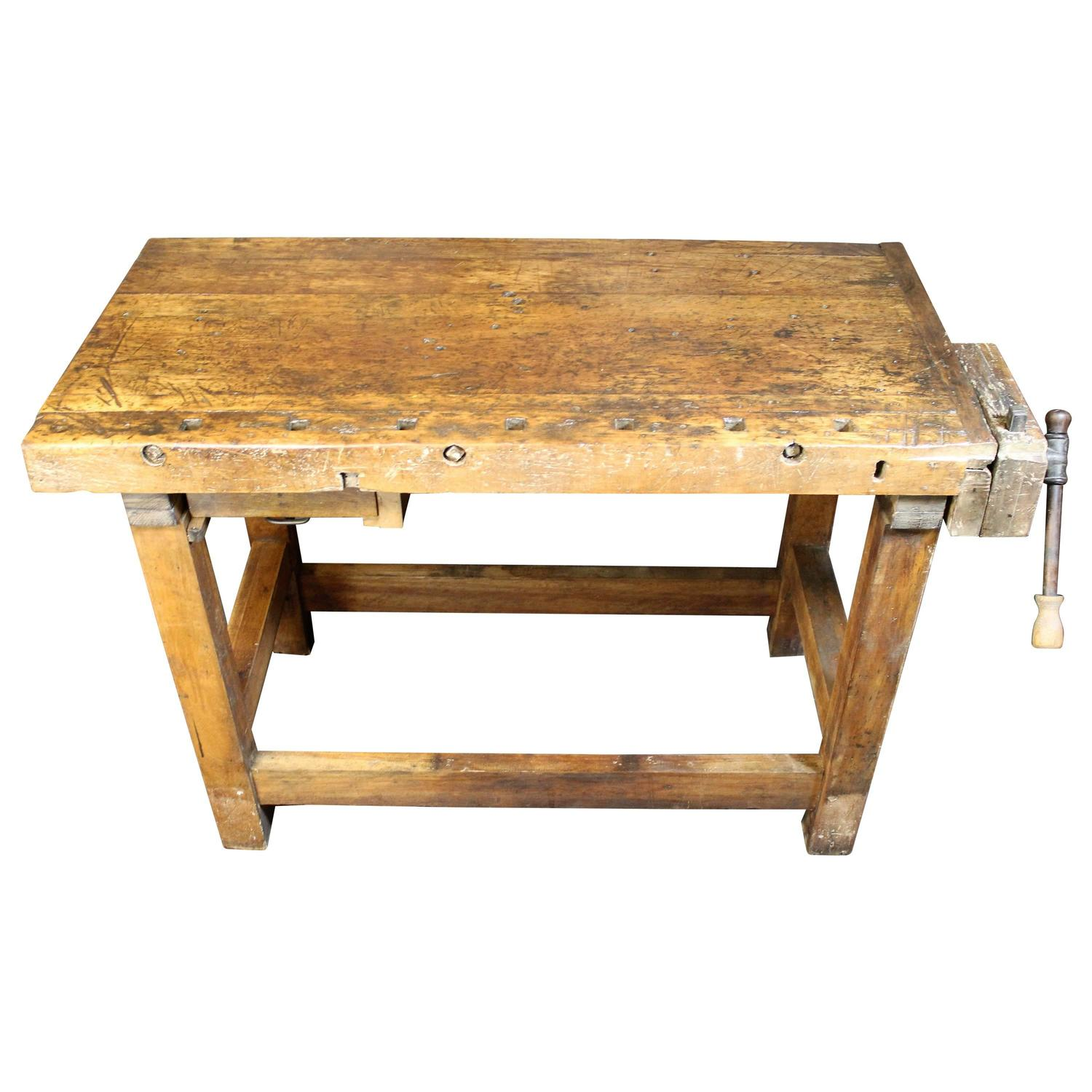 Industrial Woodworking Workbench at 1stdibs