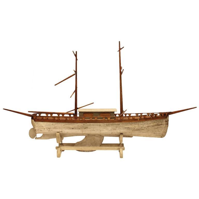 Early 1900s Folk Art Wood Model Boat