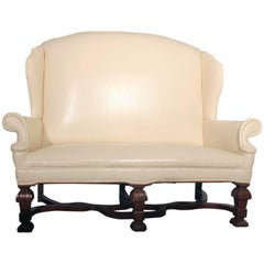 Antique William and Mary Wingback Settee White Faux Leather Ornate Wood Feet