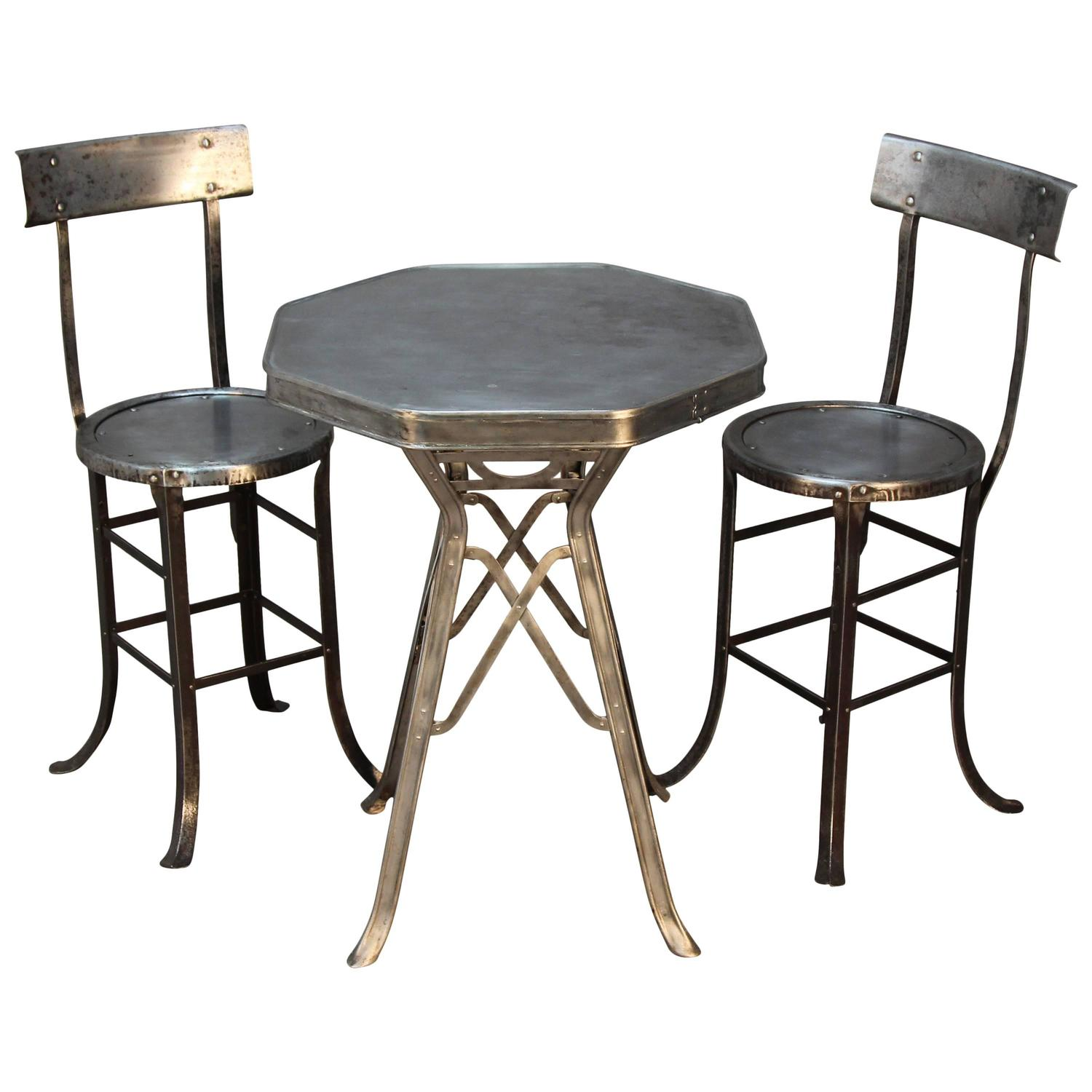 industrial bistro table and chair set at 1stdibs. Black Bedroom Furniture Sets. Home Design Ideas