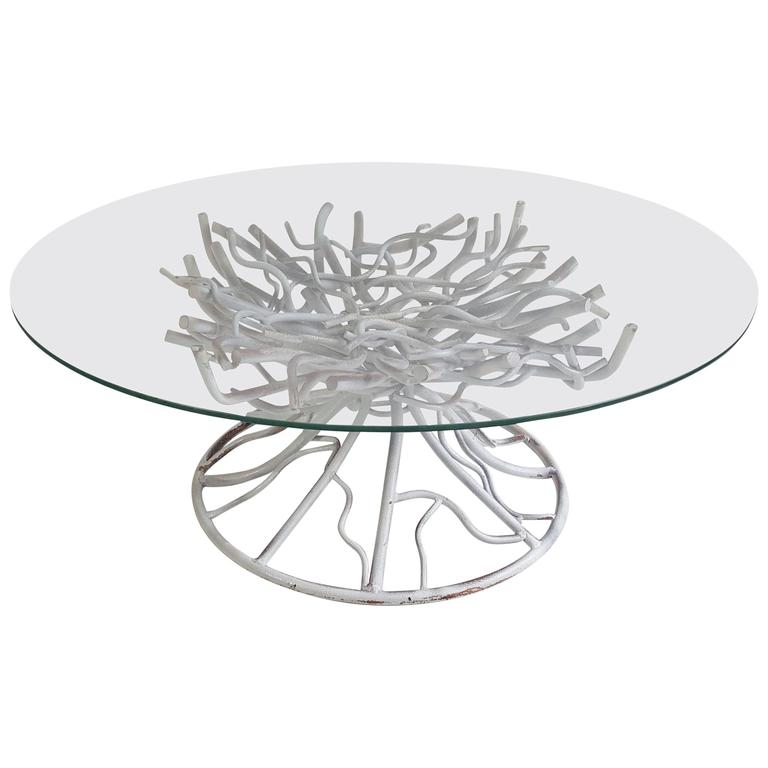 Modern Surrealist Iron Faux Tree Root Cocktail Table For