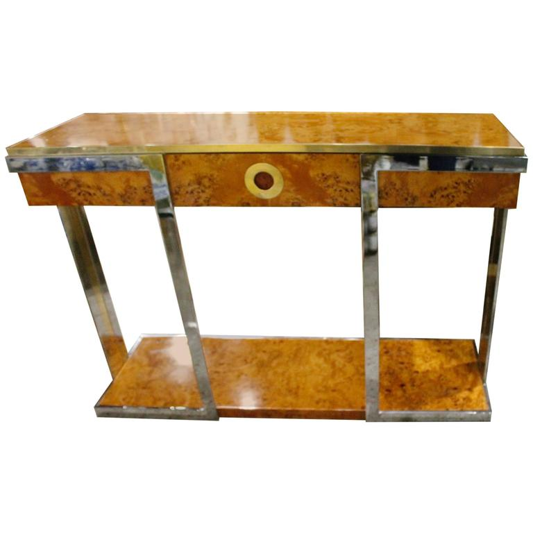 Pierre Cardin Burl Wood Vintage Console Table Brass Chrome Hollywood  Regency For Sale