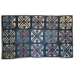 Mid-20th Century Chinese Patchwork Cover of Indigo Squares with Applique