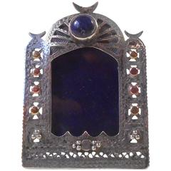 Antique Islamic Miniature Silver Frame, Bloodstone, Rose, White and Yellow Gold