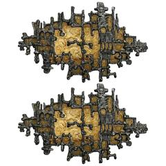 Pair of Amber Mid-Century Brutalist Style Wall Sconces