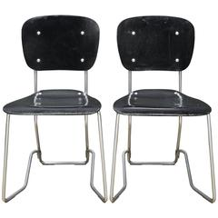 Swiss Spa Seats in Black Bent Plywood & Aluminium