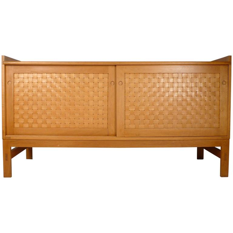 Danish Modern Woven Face Oak Sideboard For Sale