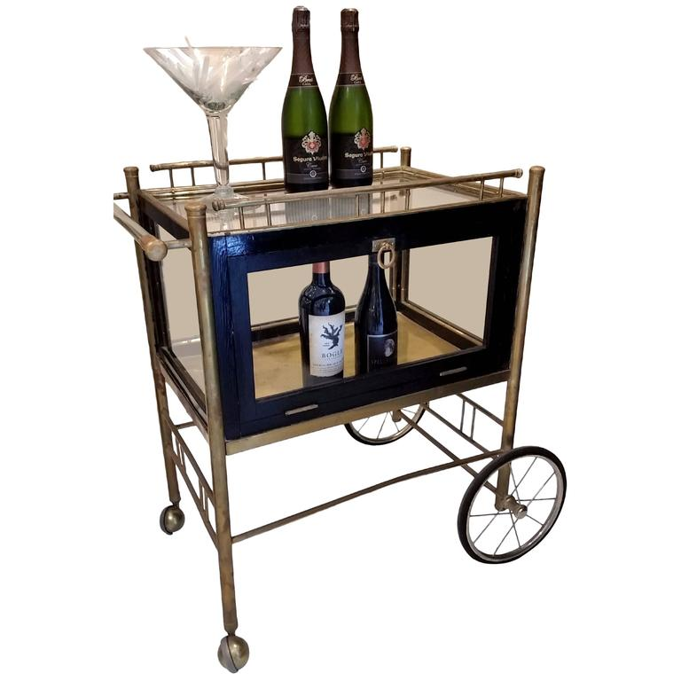 Antique Bar Cart Trolley On Carriage Wheels At 1stdibs