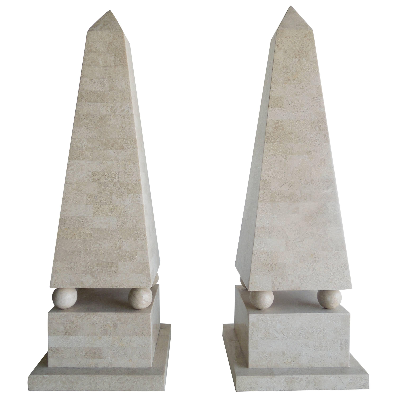 Pair of Lagre Maitland Smith Modenist Stone Obelisks