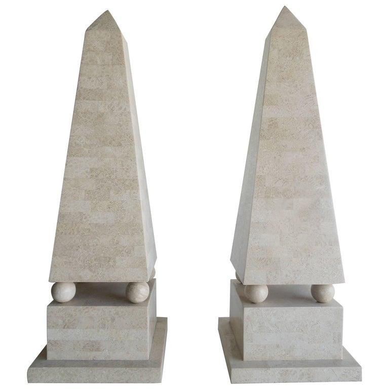 Pair of Lagre Maitland Smith Modenist Stone Obelisks For Sale