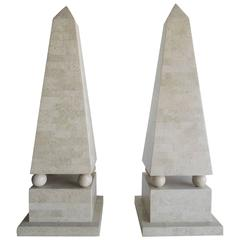 Pair of Lagre Maitland Smith Modenist Stone Obelisks