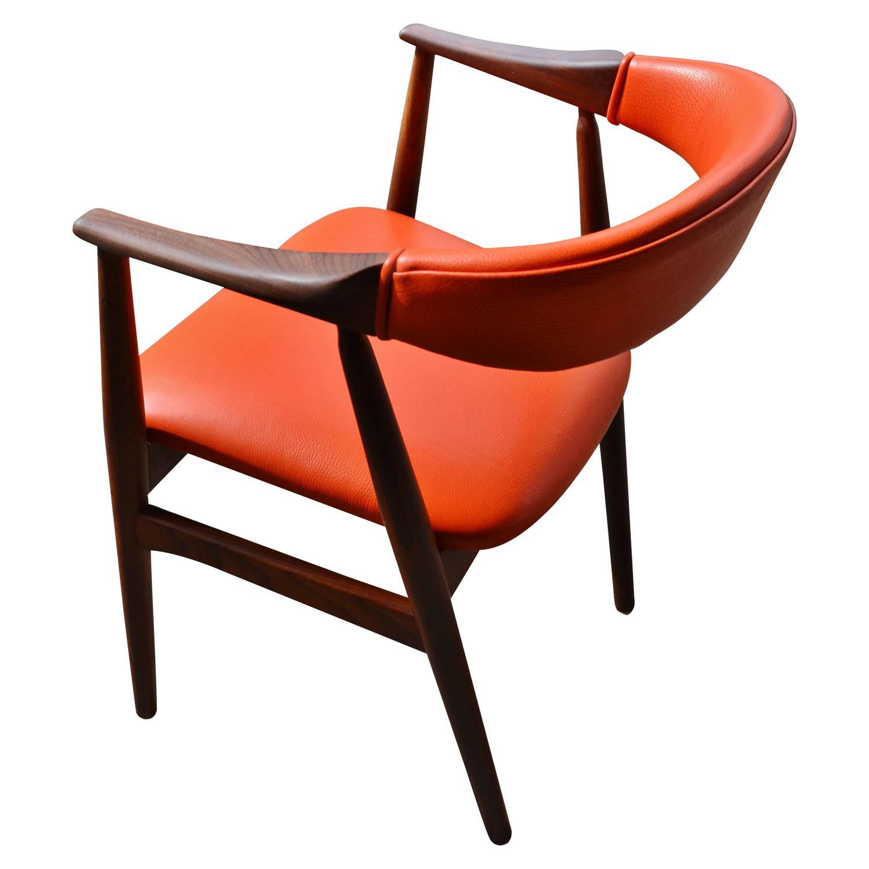 Orange Leather Kai Kristiansen Curved Back Desk or Side