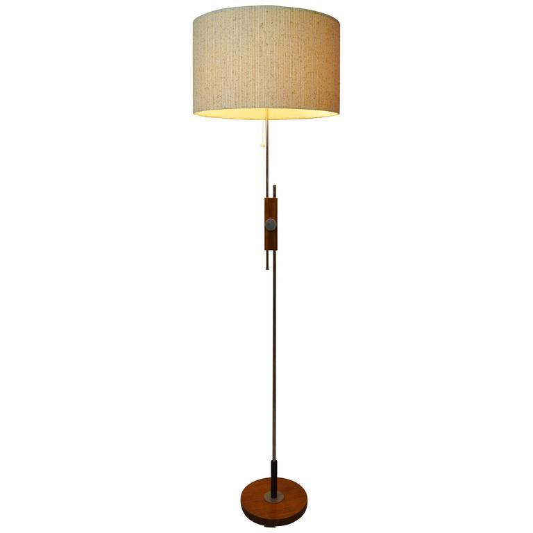 Teak and chrome temde adjustable floor lamp german at for German floor lamps