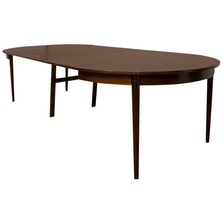 Round Dining Table Veneered Rosewood With Extensions For Sale At 1stdibs
