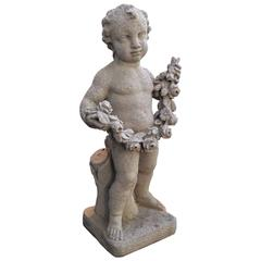 Early 20th Century Cast Stone Garden Statue of a Putto