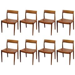 Dining Chairs with Solid Rosewood Frame, Seats with Original Brown Leather
