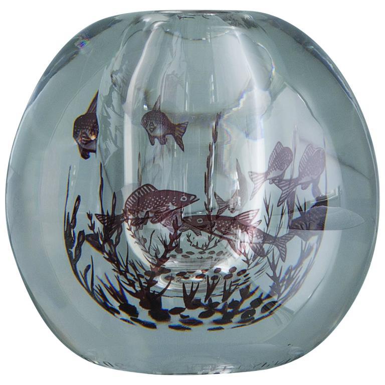 Swedish 1950s Edward Hald Fish Vase 1