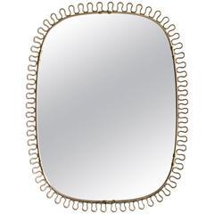 Vintage 1950s Swedish Brass Mirror