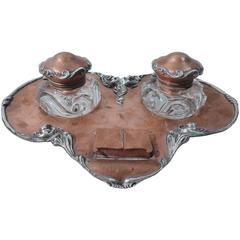 Craftsman Mixed Metal Double Inkwell in Hand-Hammered Copper and Silver