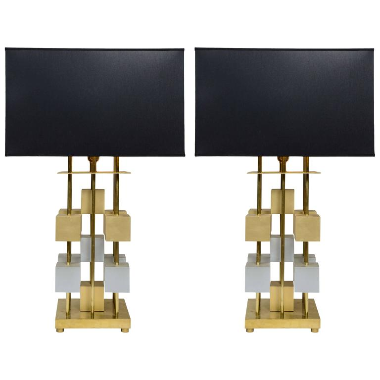 Geometric Pair of Brass and Wood Lamps