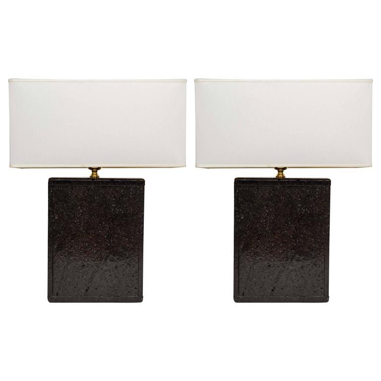 Original Pair of Black Lava Rock Lamps For Sale