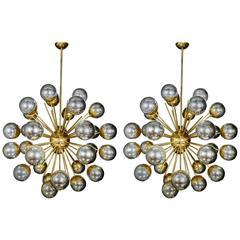 Metallic Pair of Sputnik Style Chandeliers