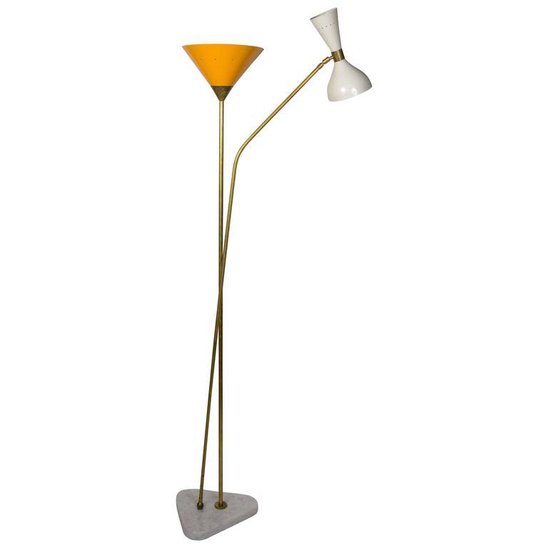 Vintage Mid-Century Three Lights Floor Lamp