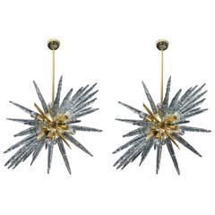 Pair of Brass and Murano Glass Sputnik Chandeliers