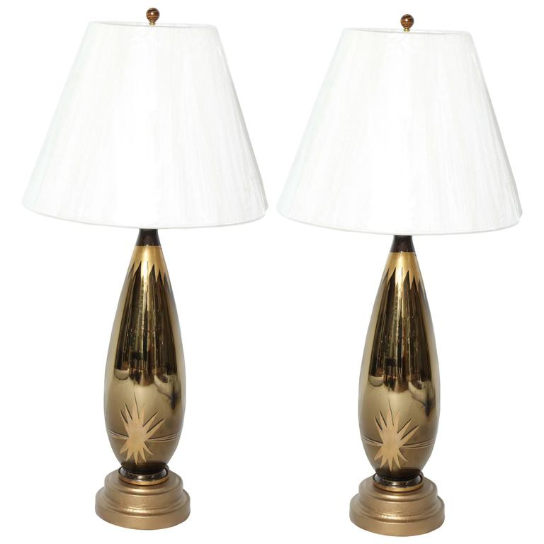 Art Deco Starburst Mercury Glass Table Lamps For Sale