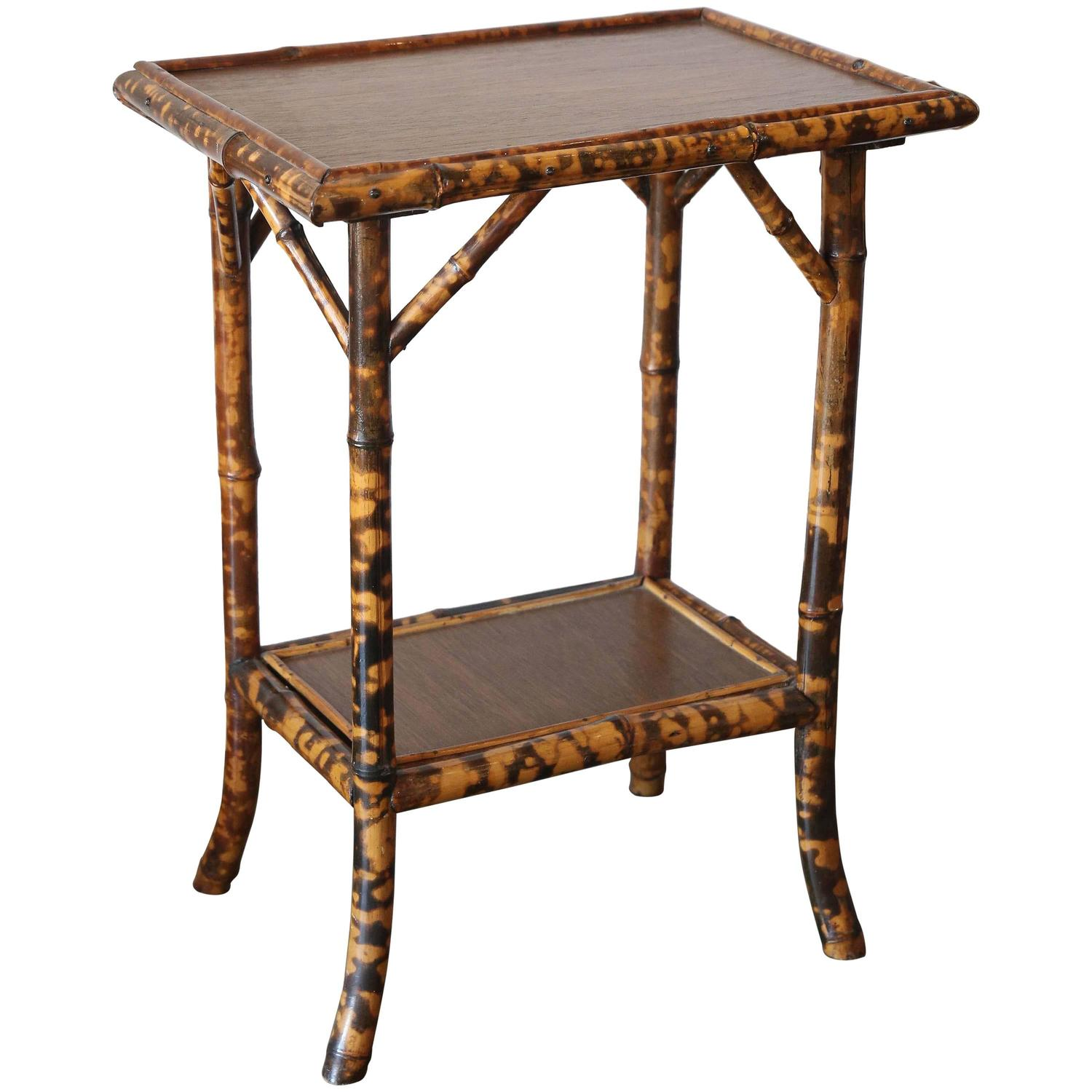 Bamboo Tortoise Coffee Table: 19th Century Scorched Bamboo Tortoise Shell Colored Table