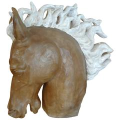 Glazed Terra Cotta Horse Head Sculpture