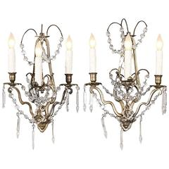 Pair of French Louis XVI Brass and Crystal Wall Sconces