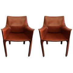 Pair of Mario Bellini Cassina Cab Leather Chairs