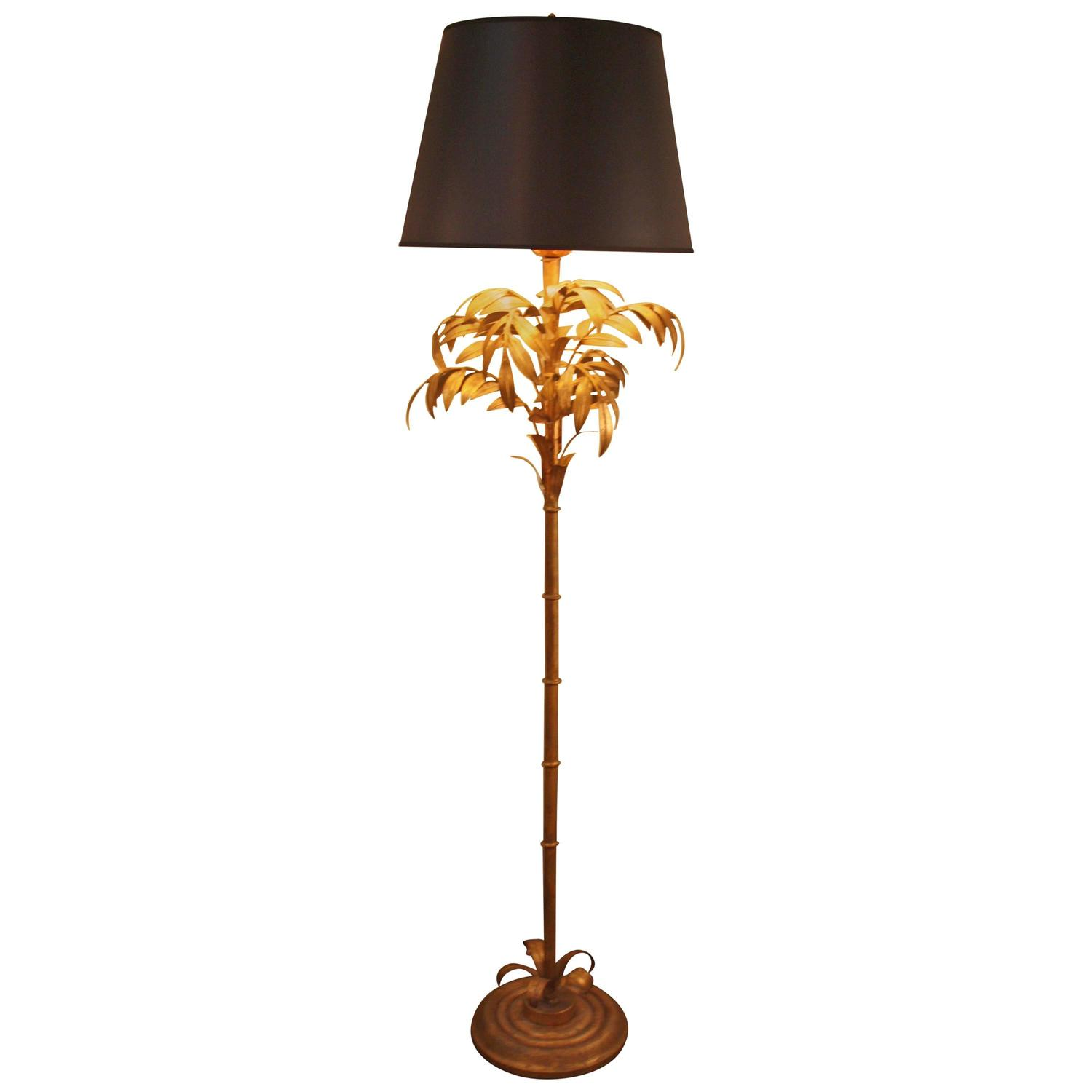 Italian Palm Thee Gold Leaf Floor Lamp At 1stdibs