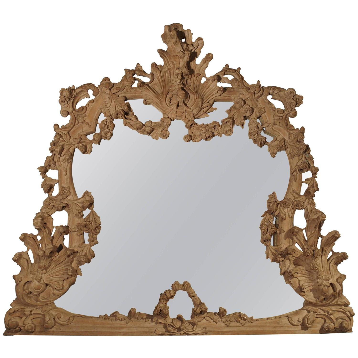 Large antique stripped walnut wood rococo style mirror for Large wooden mirrors for sale