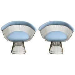 Pair of 1974 Warren Platner for Knoll Blue Armchairs