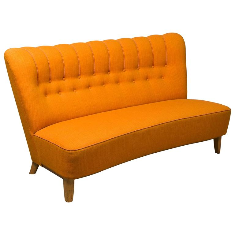Danish Armless Settee For Sale