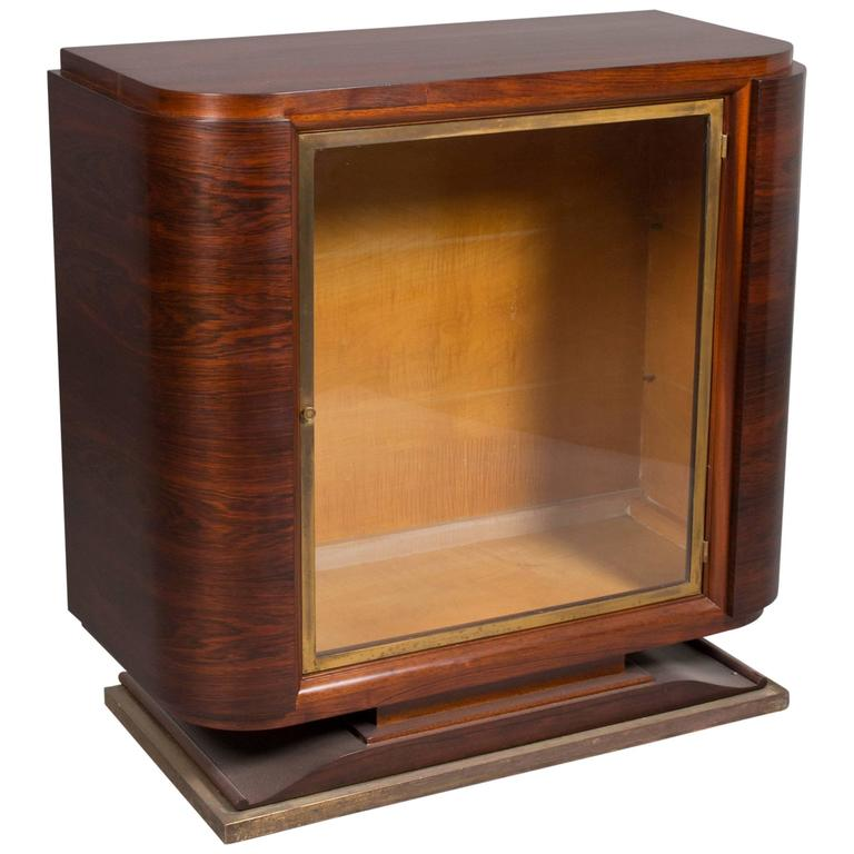 Art Deco Glass Door Cabinet For Sale