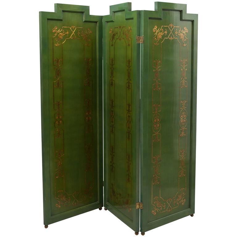 Folding Deco Green Lacquered Screen with Metal Inlay For Sale