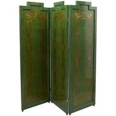Folding Deco Green Lacquered Screen with Metal Inlay