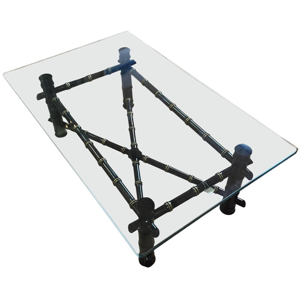 Faux Bamboo Coffee Table With Thick Glass Top At 1stdibs