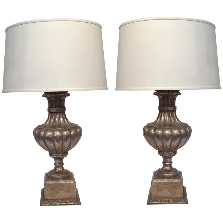 pair of italian wooden lamp bases with silver leaf finish for sale at. Black Bedroom Furniture Sets. Home Design Ideas