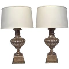 Pair of Italian Carved Lamp Bases with Silver Leaf Finish