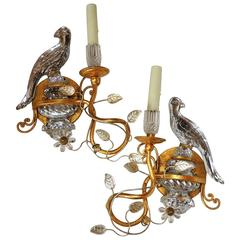 Wonderful Pair of Bagues Style Vintage Gilt and Rock Crystal Parrot Bird Sconces
