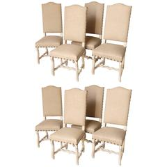 Set of Eight Os Du Mouton Style Dining Chairs