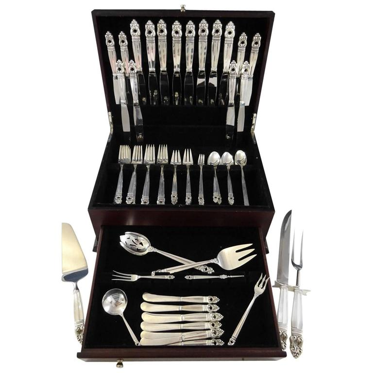 Royal Danish by International Sterling Silver Flatware Set Dinner & Lunch, 81 Pc