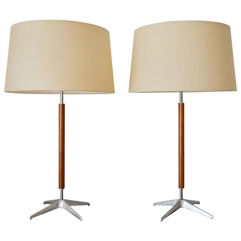 Pair of Chrome and Walnut Lamps by Gerald Thurston for Lightolier